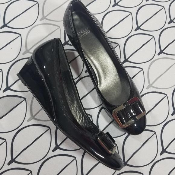 Stuart Weitzman Black Patent leather Bow Wedges 10